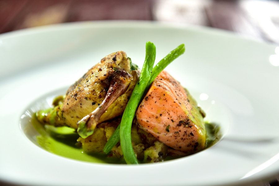 New Year's Eve Dinner menu – main course: duo of grilled salmon and roasted spring chicken and spinach cream cheese