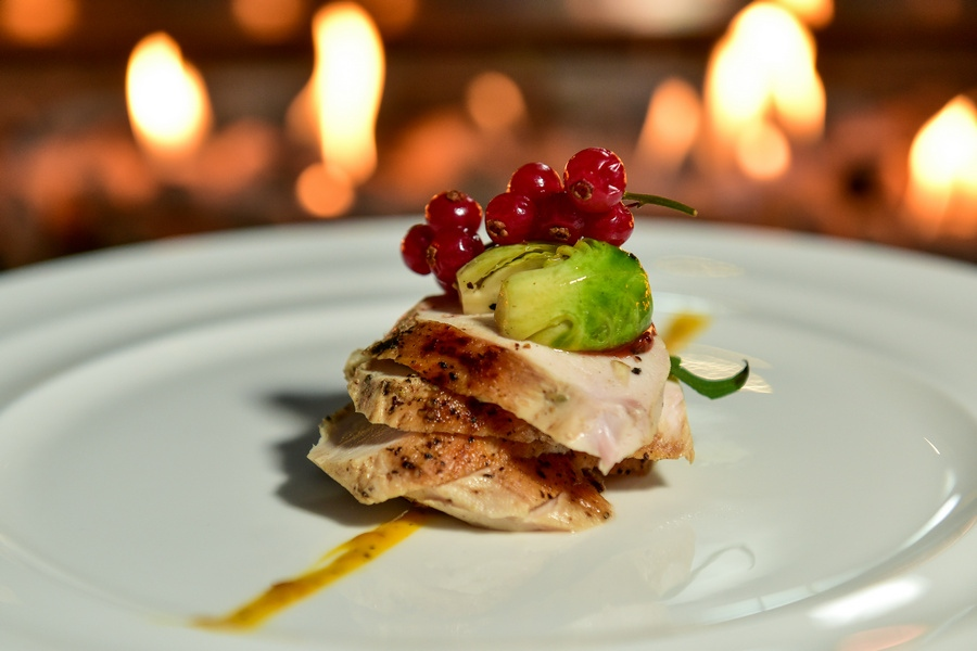 main course: sous-vide turkey- wok fried Brussels sprout, smoked pumpkin puree and cranberry juice