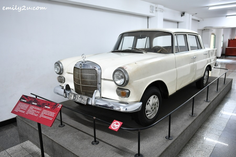 Vintage Mercedes Benz W110 200 made in Germany in the 1960s was used by President of the Republic of Vietnam Nguyen Van Thieu. The 1st Corps, 390th Division, 48th Regiment seized it at 9:10 AM on 30 April, 1975 from the Headquarters of the Republic of Vietnam.