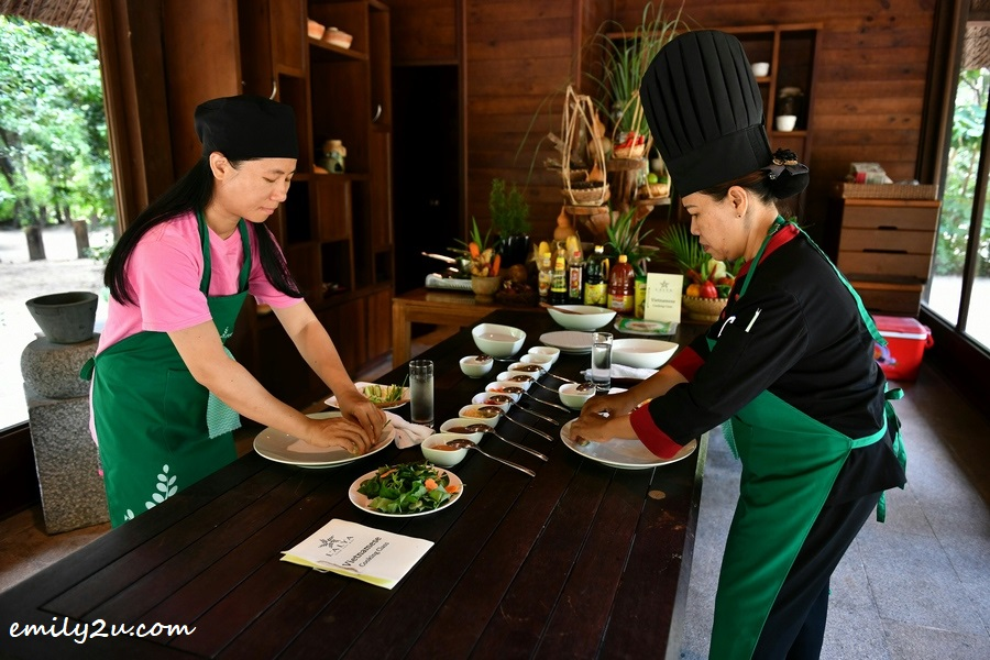 learning cooking from Executive Chef Chuong