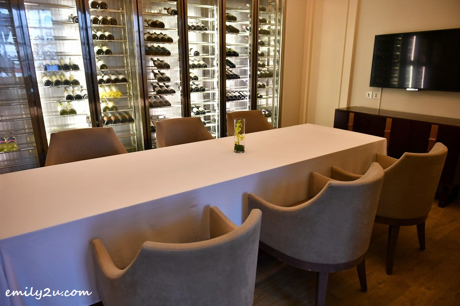 indoor dining with wine cellar