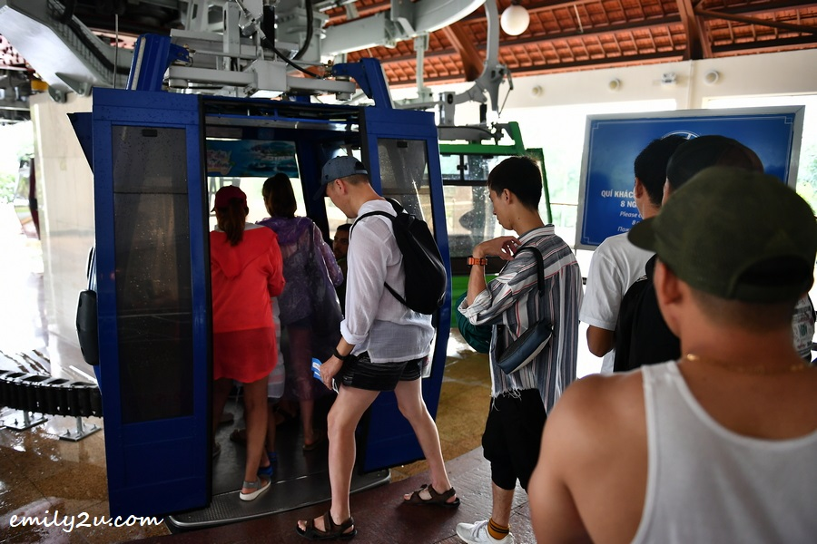 boarding the cable car