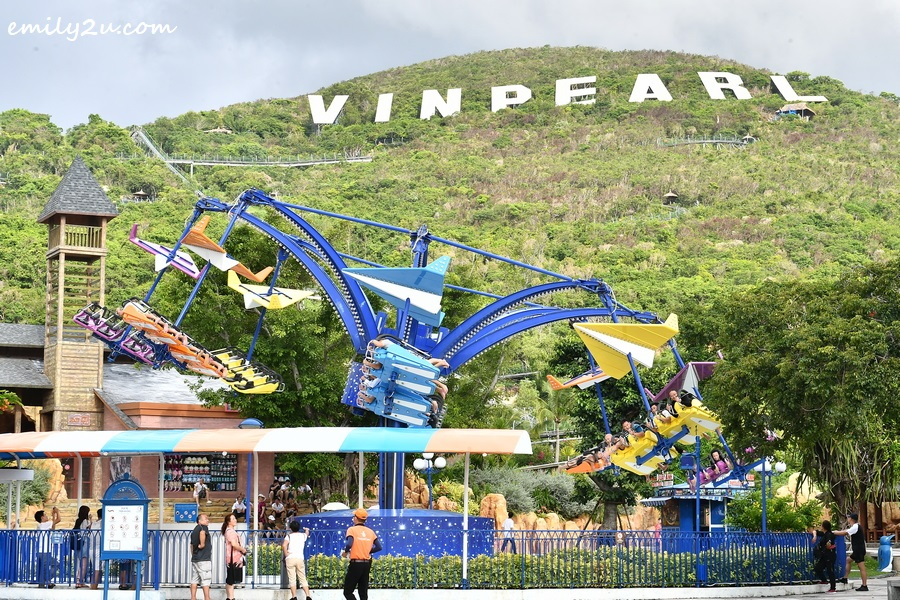 one of the flying rides with Vinpearl wording in the background