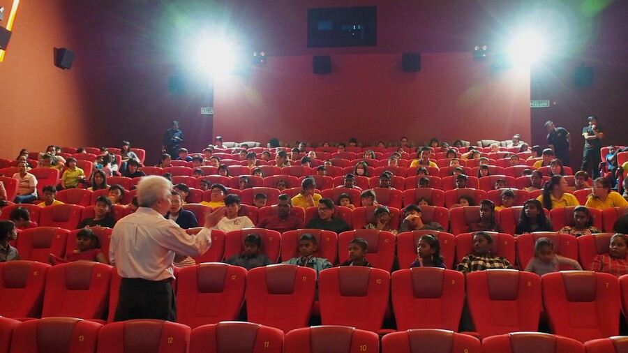 "Manager for GSC Ipoh Parade, Sam Kok Kee conducts a safety briefing for the children prior to the start of the movie, ""Jumanji: The Next Level""."