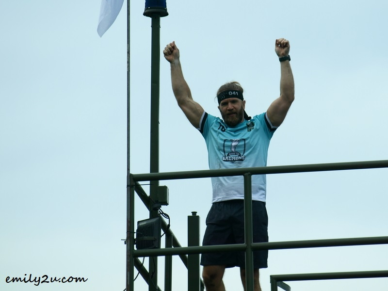 one of the competitors, rejoicing at completion of the course
