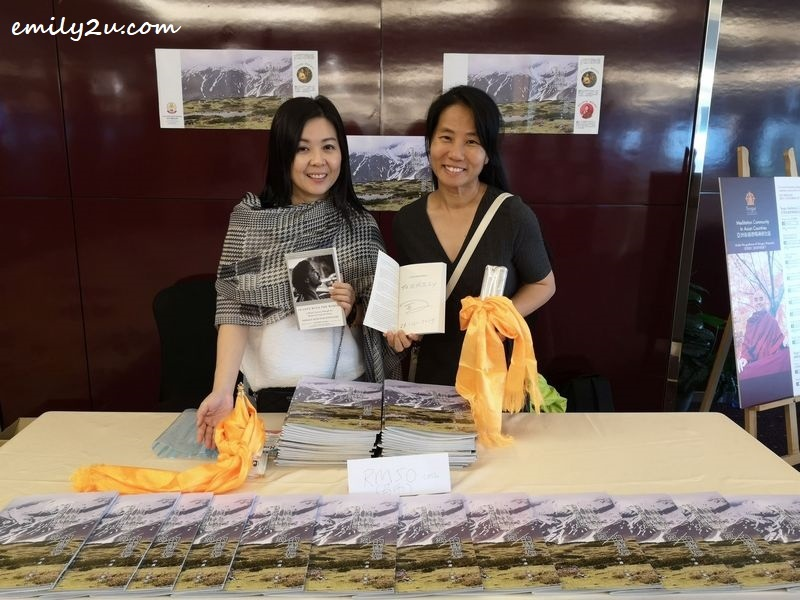 author Ms Leong Oi Yin (L) & yours truly (R) with our Christmas gifts from the Venerable Yongey Mingyur Rinpoche