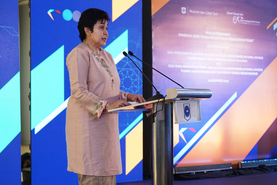 Bank Negara Malaysia (BNM) Governor Nor Shamsiah Mohd Yunus delivers opening remarks at the launch of 'For the Nation: 60 Years of Central Banking' exhibition.
