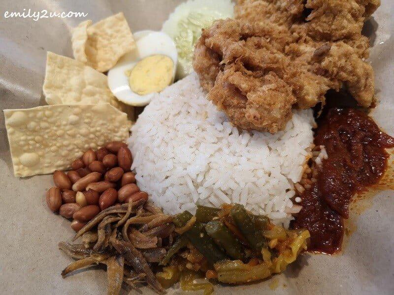 close-up shot of Nasi Lemak Fried Chicken Chop
