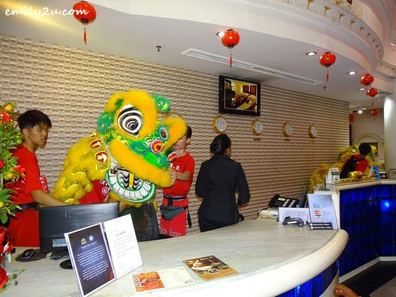 lion blesses the business areas of the hotel