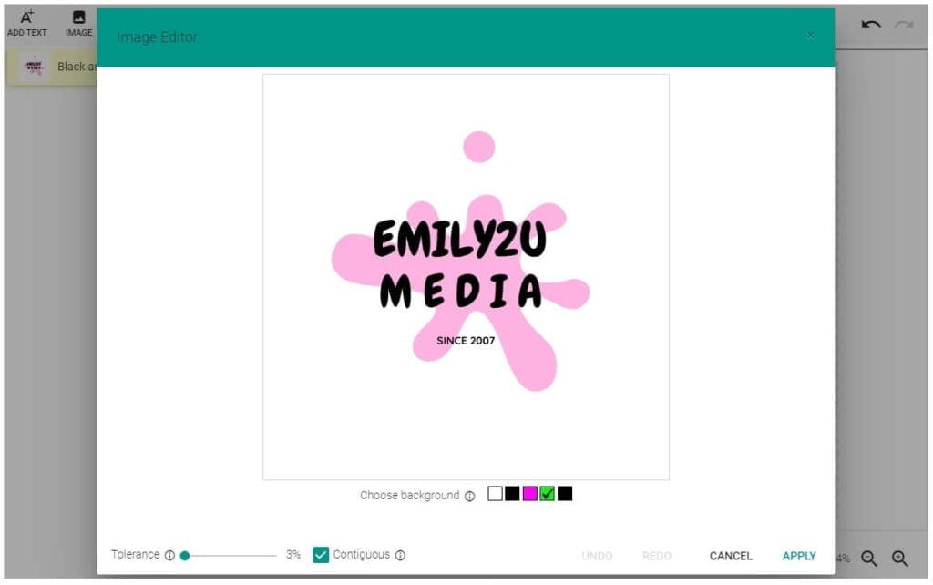 upload your desired logo or design