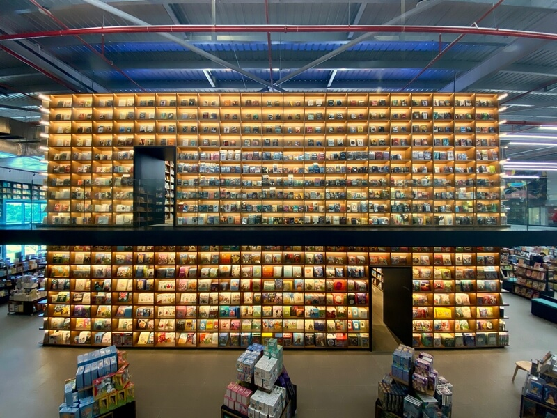 BookXcess Sunway Big Box  32,000 sq. ft. concept bookstore and its Box of Knowledge, the 7.5-metre tall bookshelves that hold a Children's Cave