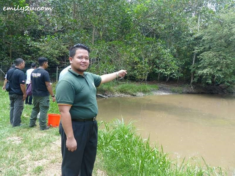 Mohd. Zulfadli Bin Zainor points at the pond where the false gharials live