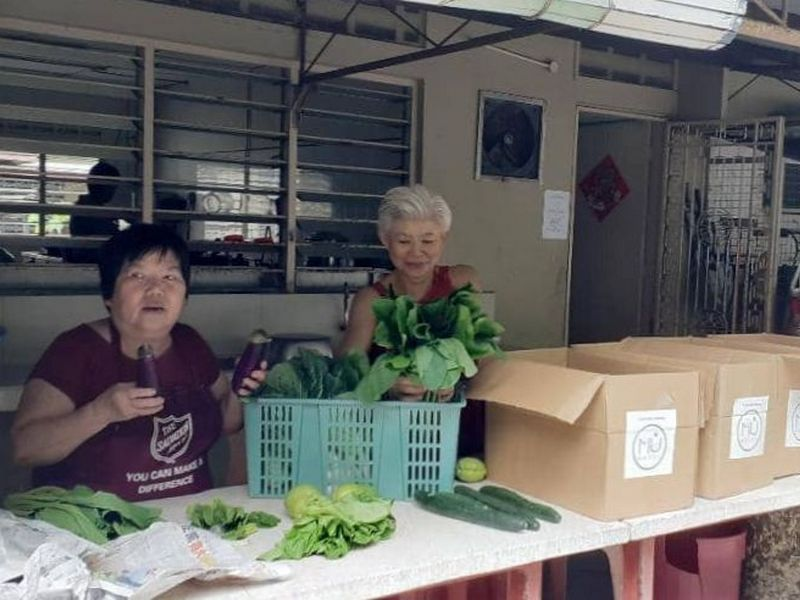 volunteers pack vegetables into boxes