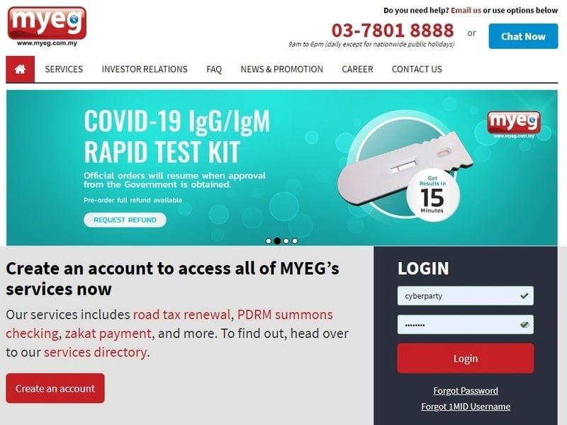 MyEG website