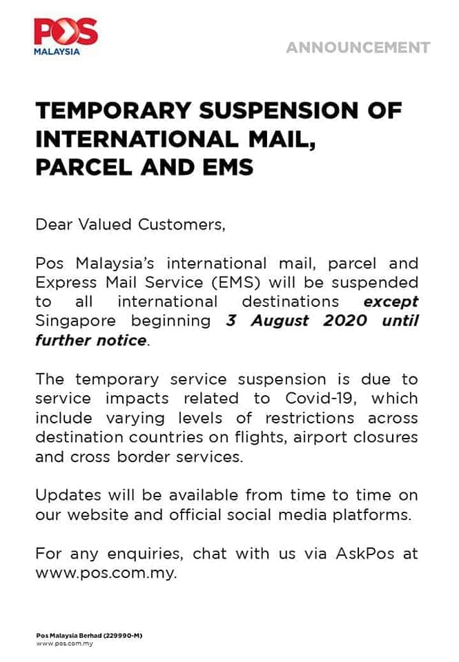 Pos Malaysia announcement