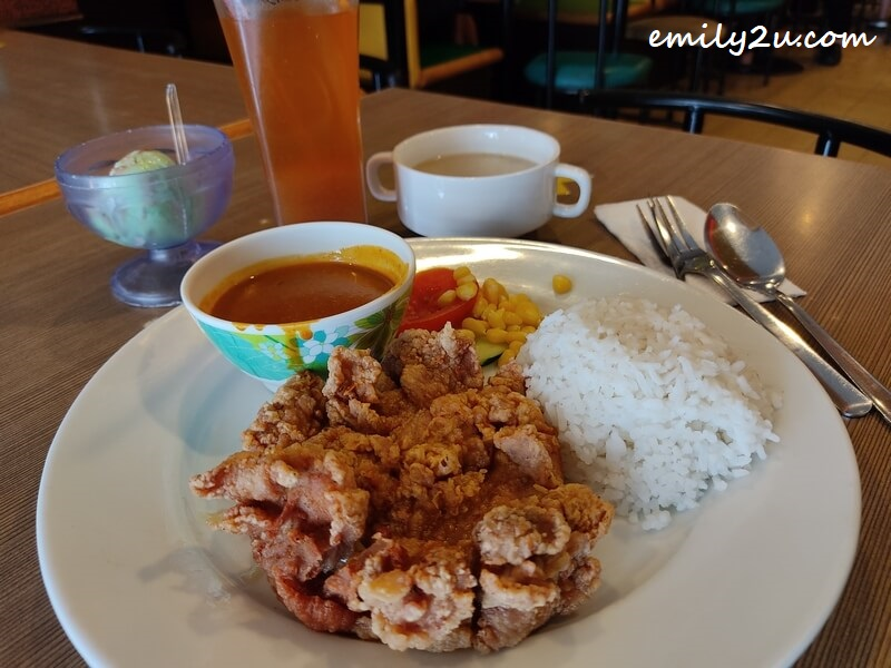 Japanese curry chicken chop rice set
