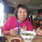 Kyoko eating pan mee