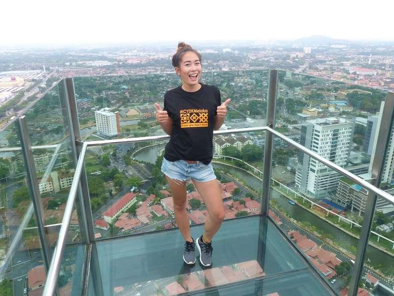 Angela Koblitz atop The Shore Sky Tower, Melaka