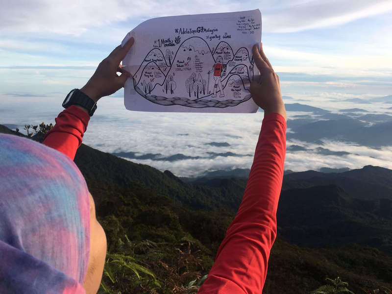 Adela's own doodle #AdelaTopsG7 Malaysia. Completed at Mt Tahan.