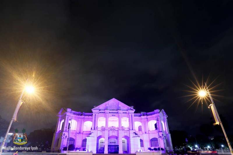 Ipoh Town Hall lighted up in purple