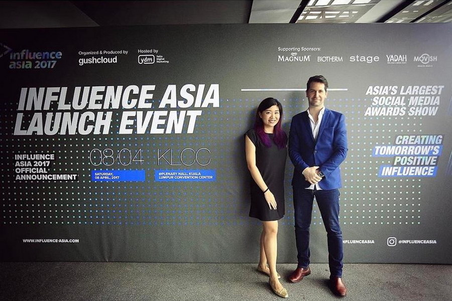 at the launch event of Influence Asia; with Iris Chia, PR manager for Gushcloud
