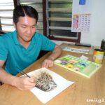 Chong Kok Leng painting at home