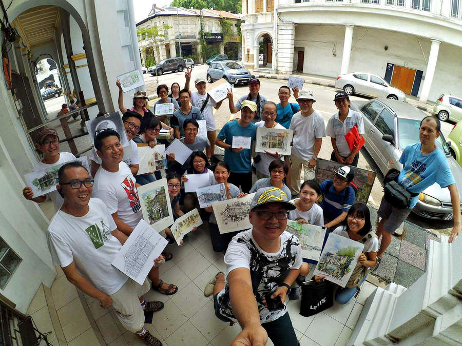 Rene with Urban Sketchers Ipoh Family