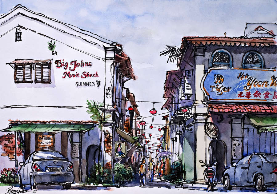 Rene's first sketch of Concubine Lane in Ipoh Old Town