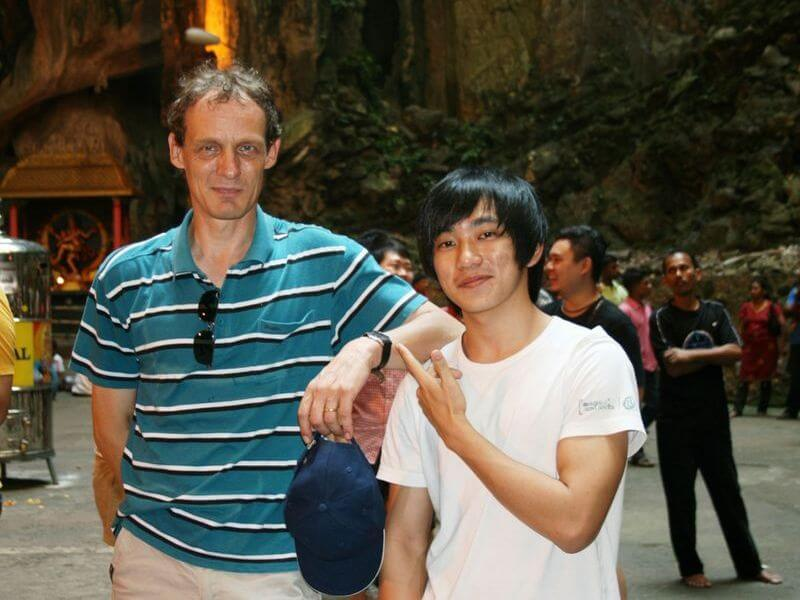 Bongers at Batu Caves with a friend from Ipoh who is now living in Germany