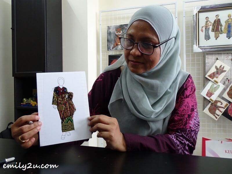 Latifah Hamzah with a Baju Pahang patchwork