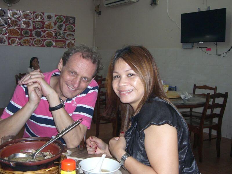 Bongers with wife Annie enjoying local food