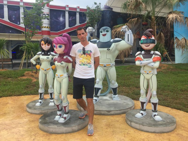 Thibault with The Adventurers at the newly opened Movie Animation Park Studios (MAPS)
