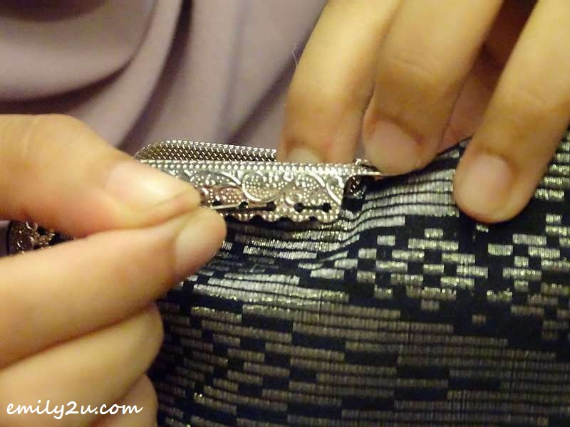 sewing to secure the handle