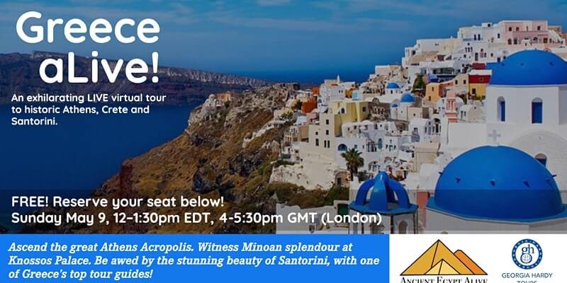 Greece aLIVE! An exhilarating virtual tour to Athens, Crete & Santorini